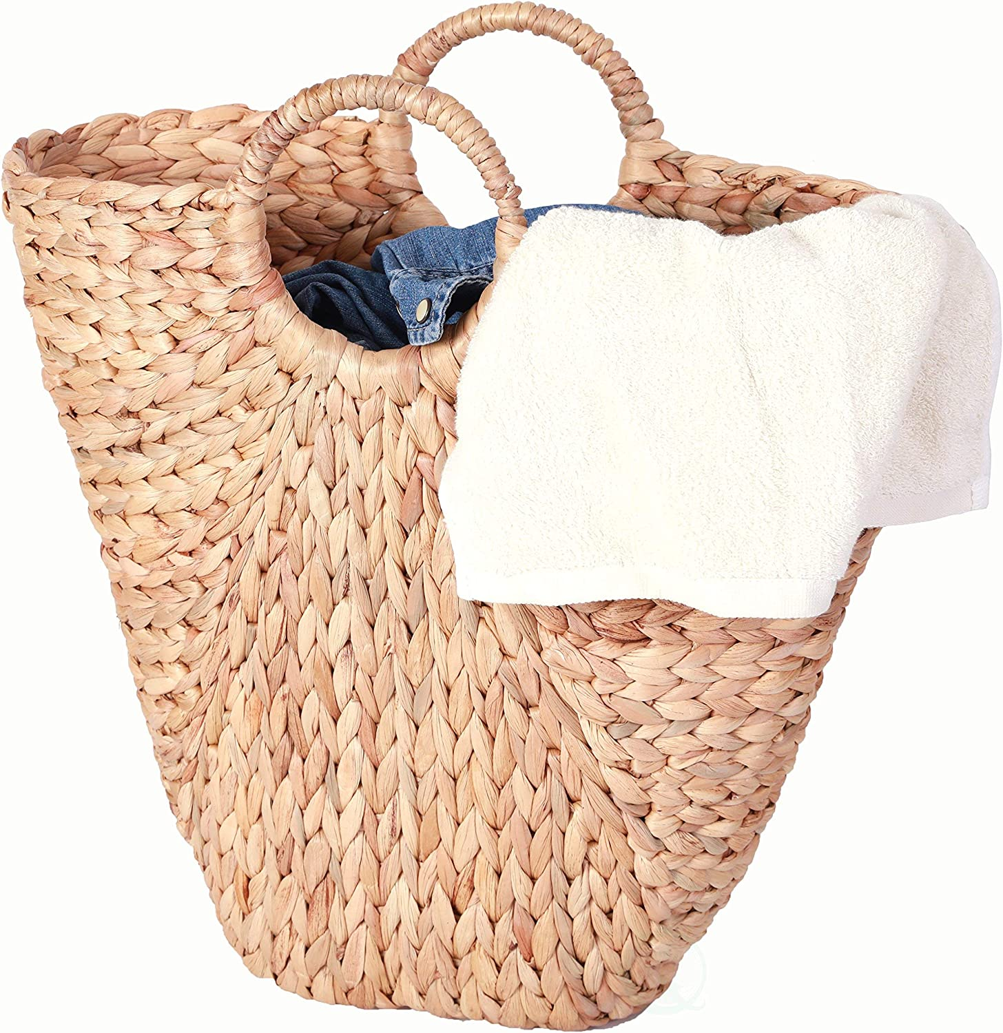 "Vintiquewise QI003352 18"" Natural Handwoven Water Hyacinth Storage Laundry Basket/Handbag"