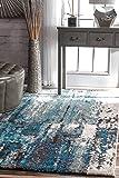 nuLOOM Abstract Haydee Rug, 4' x 6', Blue