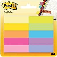 3M Post-it Notes Markers - Segnapagina adesivi in carta – Linguette adesive colorate di carta – Dimensioni 12,7 mm x 44,4 mm, colori assortiti, 10 blocchetti x 50 linguette adesive