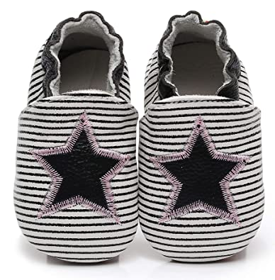 960a675584d Bebila Baby Slippers Elastic Ankle - Star Baby Moccasins Girls with Soft  Sole Crib Pre-