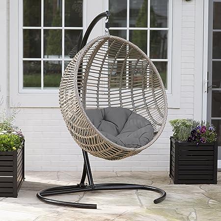 De Egg Chair.Amazon Com Boho Chic Style Resin Wicker Kambree Rib Hanging Egg