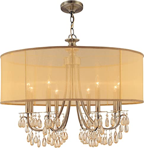 Crystorama 5628-AB Crystal Accents Eight Light Chandeliers from Hampton collection in Brass-Antiquefinish,