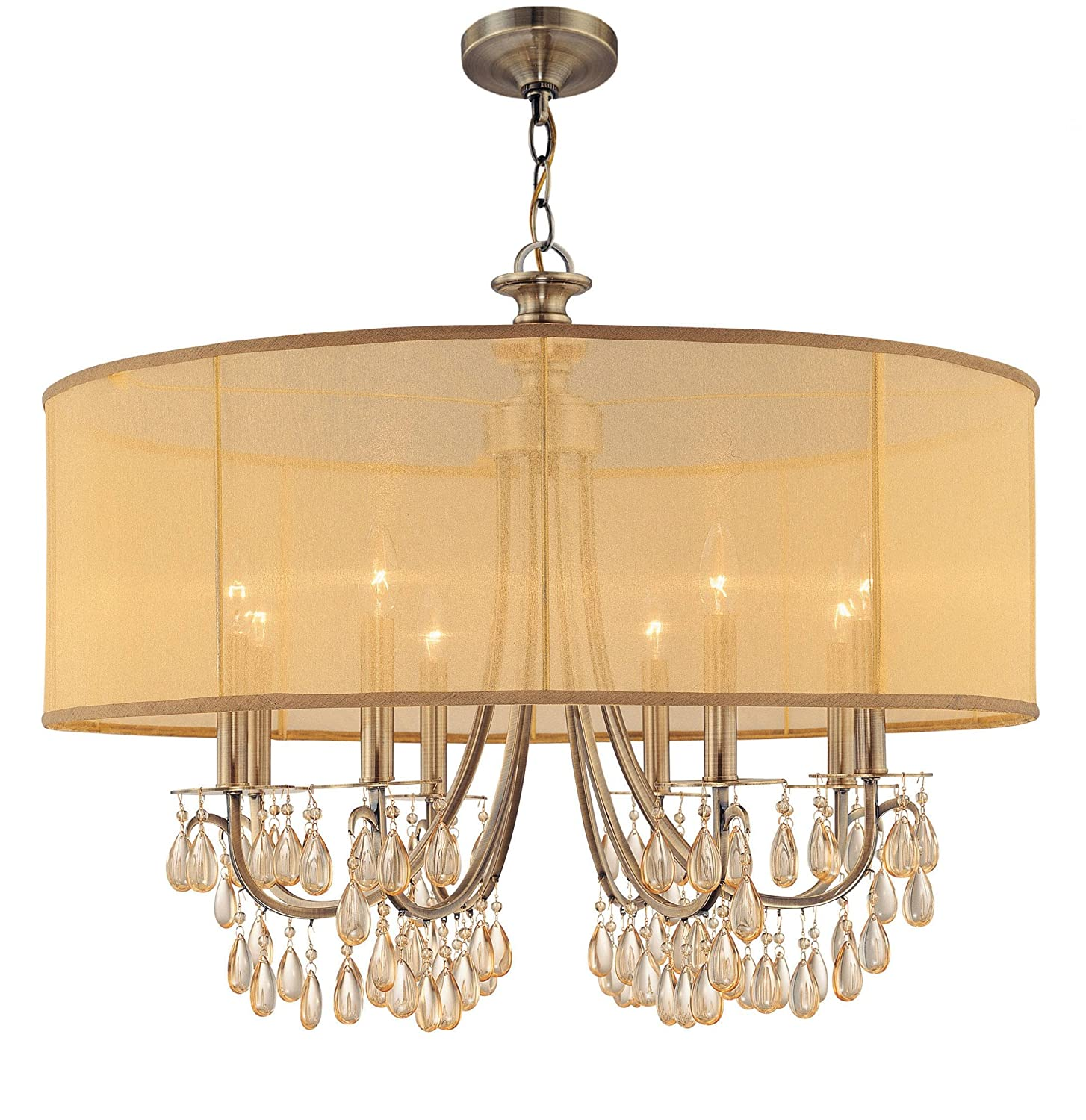 Crystorama 5628-AB Crystal Accents Eight Light Chandeliers from Hampton  collection in Brass-Antiquefinish, - - Amazon.com - Crystorama 5628-AB Crystal Accents Eight Light Chandeliers From