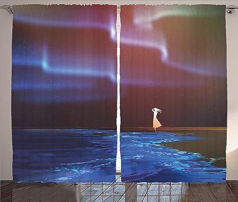 Fantasía arte casa decoración cortinas por Ambesonne, mujer en la playa de perro del Norte luces ...