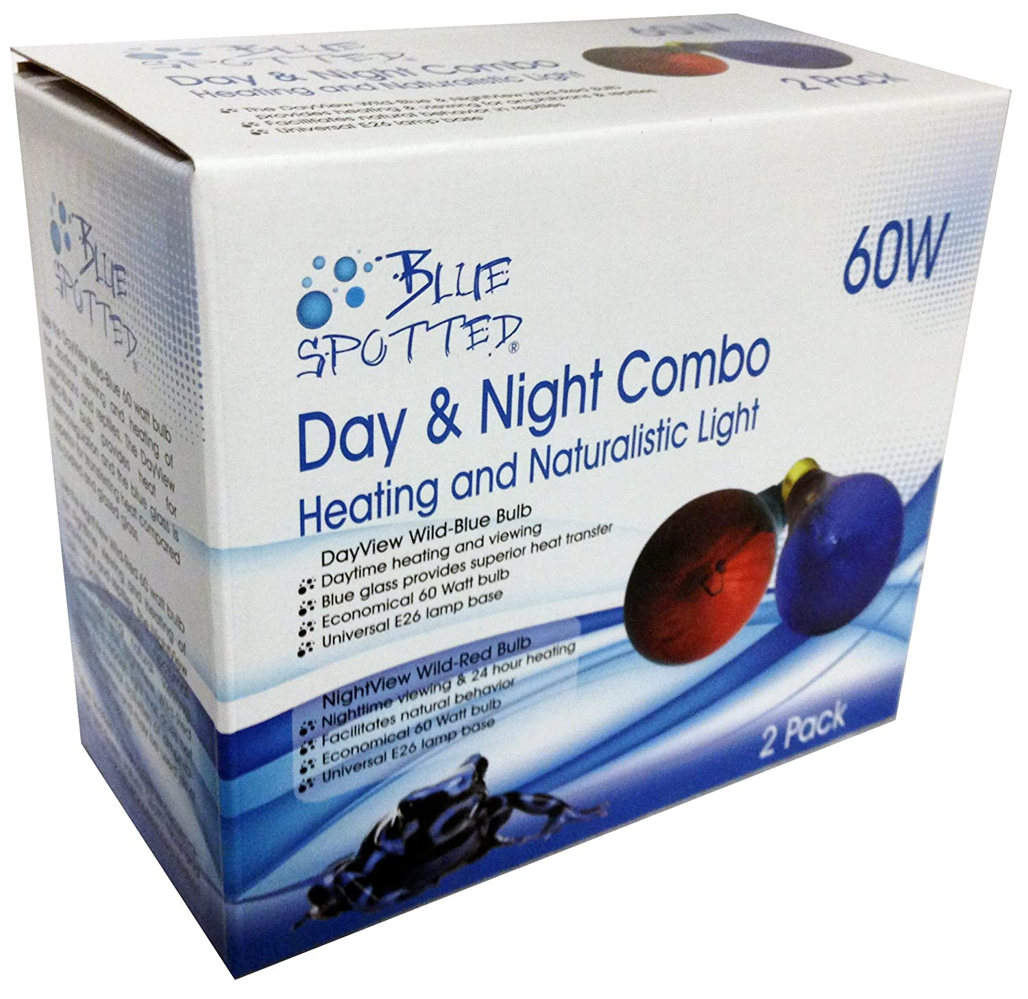 bluee Spotted Day & Night 60 Watt Combo Pack for Terrariums & Viewing and Heating of Your Pet Reptiles and Amphibians