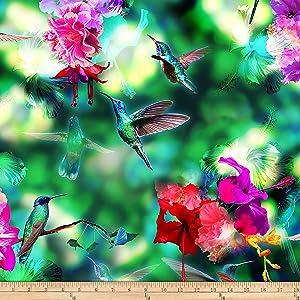 Hoffman Digital Hummingbird Haven Bird & Floral Hummingbird Quilt Fabric By The Yard