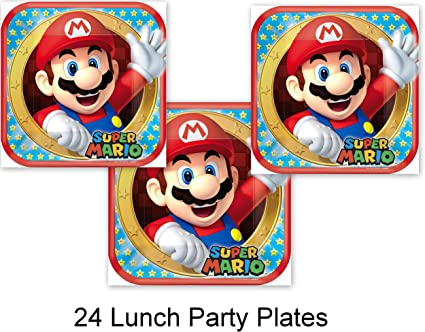 Amazon.com: Mario Bros Brothers Video Game fiesta platos ...
