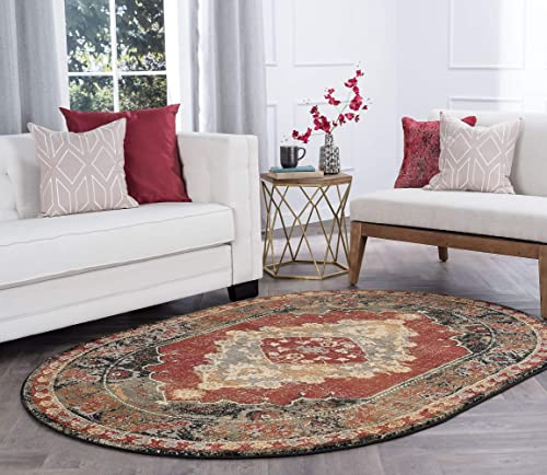 Tayse Fiona Red 5×8 Oval Area Rug for Living, Bedroom, or Dining Room – Transitional, Border