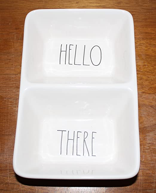 By Magenta. Rae Dunn HELLO and THERE in large letters divided 2 Section Candy Treat Dessert Snack Dish Tray