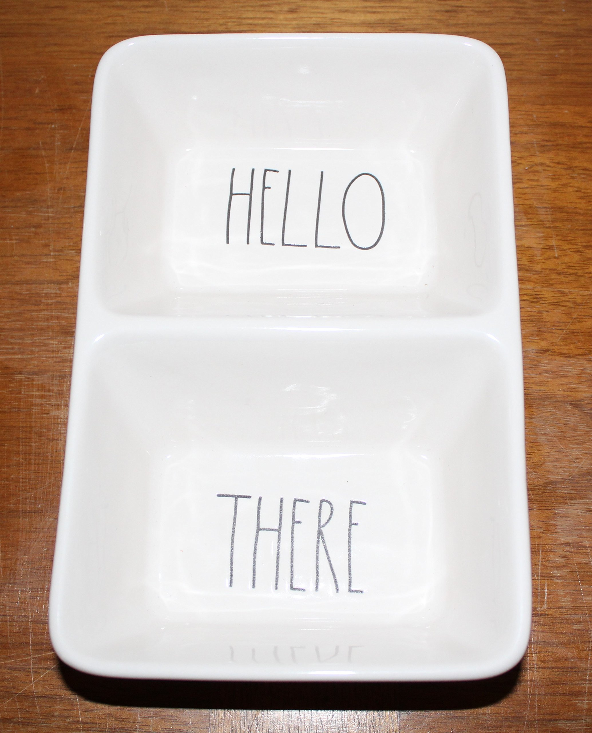 Rae Dunn HELLO and THERE in large letters divided 2 Section Candy Treat Dessert Snack Dish Tray. By Magenta.