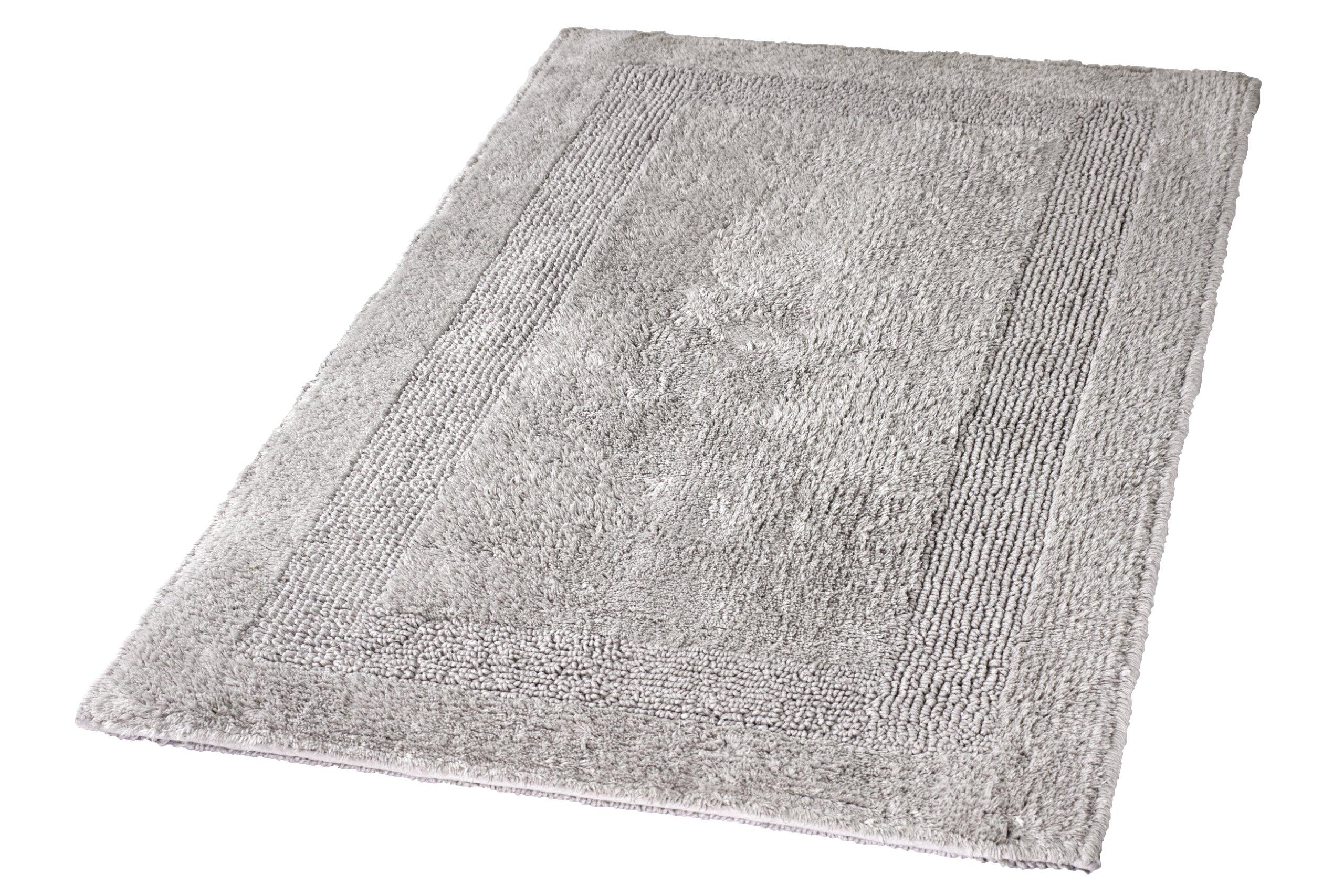 Kleine Wolke Eco Living Arizona Reversible Cotton Bathroom Rug (31.5 x 55.1in, Silver Grey)