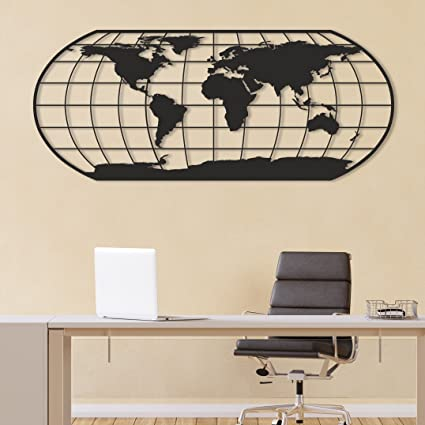 Amazon Com Metal Wall Art World Map Xl Design Metal Art