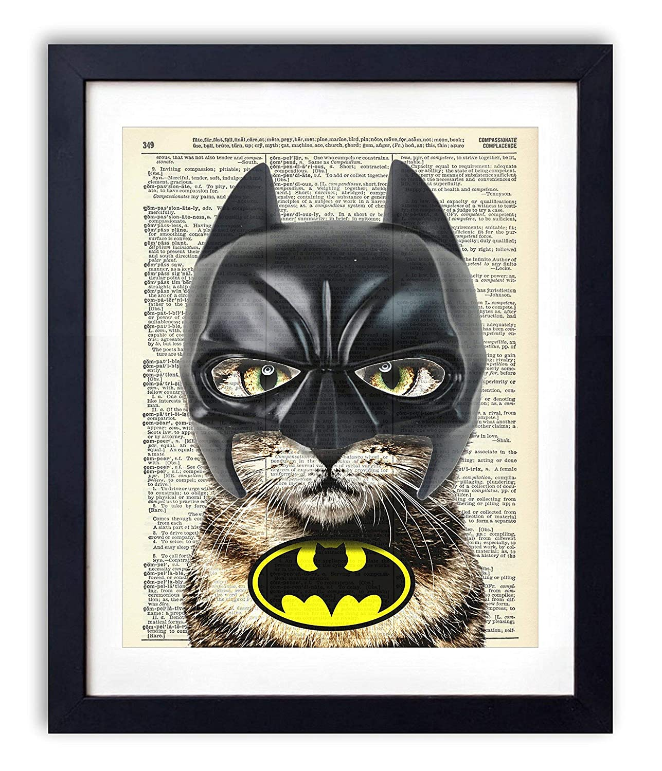 Bat Cat Super Hero Vintage Upcycled Dictionary Art Print - 8x10 inches