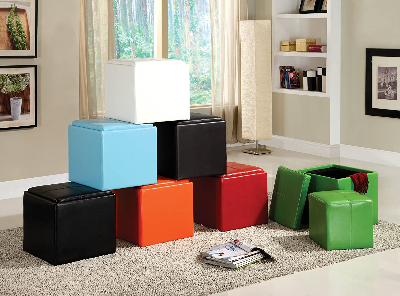 Amazon.com: Homelegance 4723RN Homelegance Ladd Storage Ottoman With Stool,  Bi Cast Vinyl, Orange: Kitchen U0026 Dining