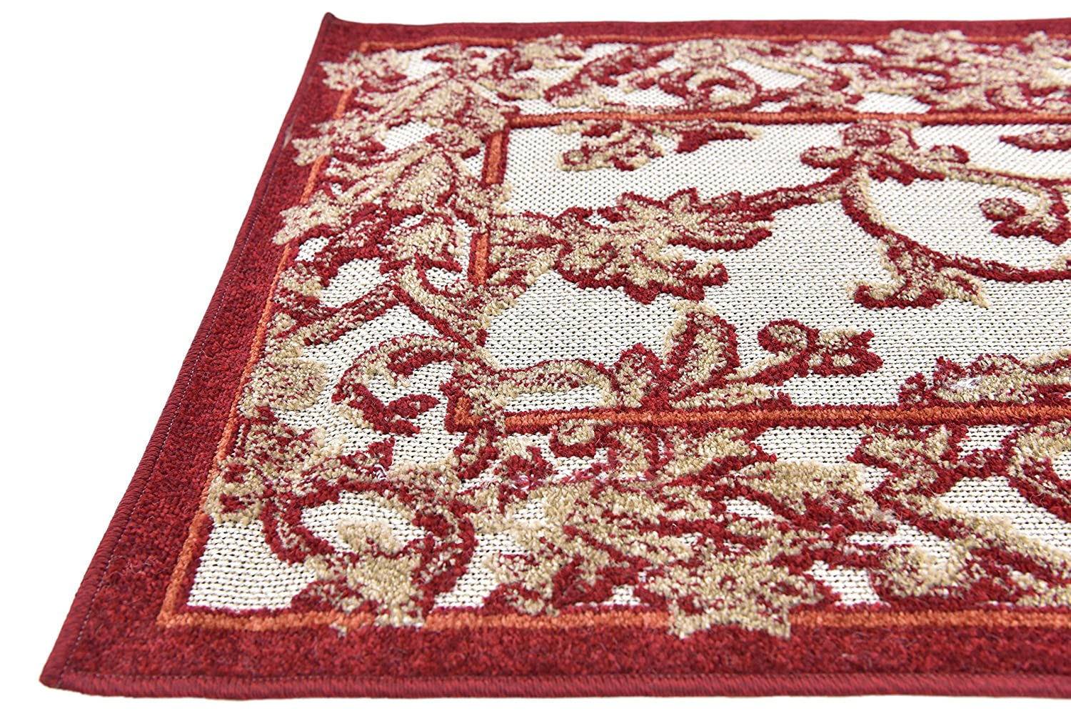 Unique Loom Outdoor Botanical Collection Carved Botanical Border Transitional Indoor and Outdoor Flatweave Beige //Red  Runner Rug 2 x 6