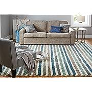Mohawk Home Laguna Boardwalk Stripe Woven Rug, 8'x10', Blue