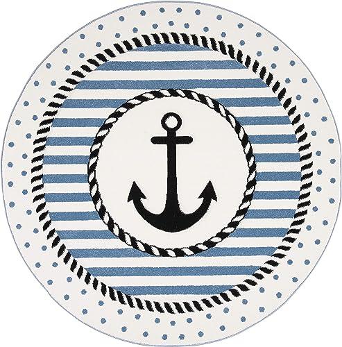 Safavieh Carousel Kids Collection CRK124A Nautical Anchor Nursery Playroom Area Rug