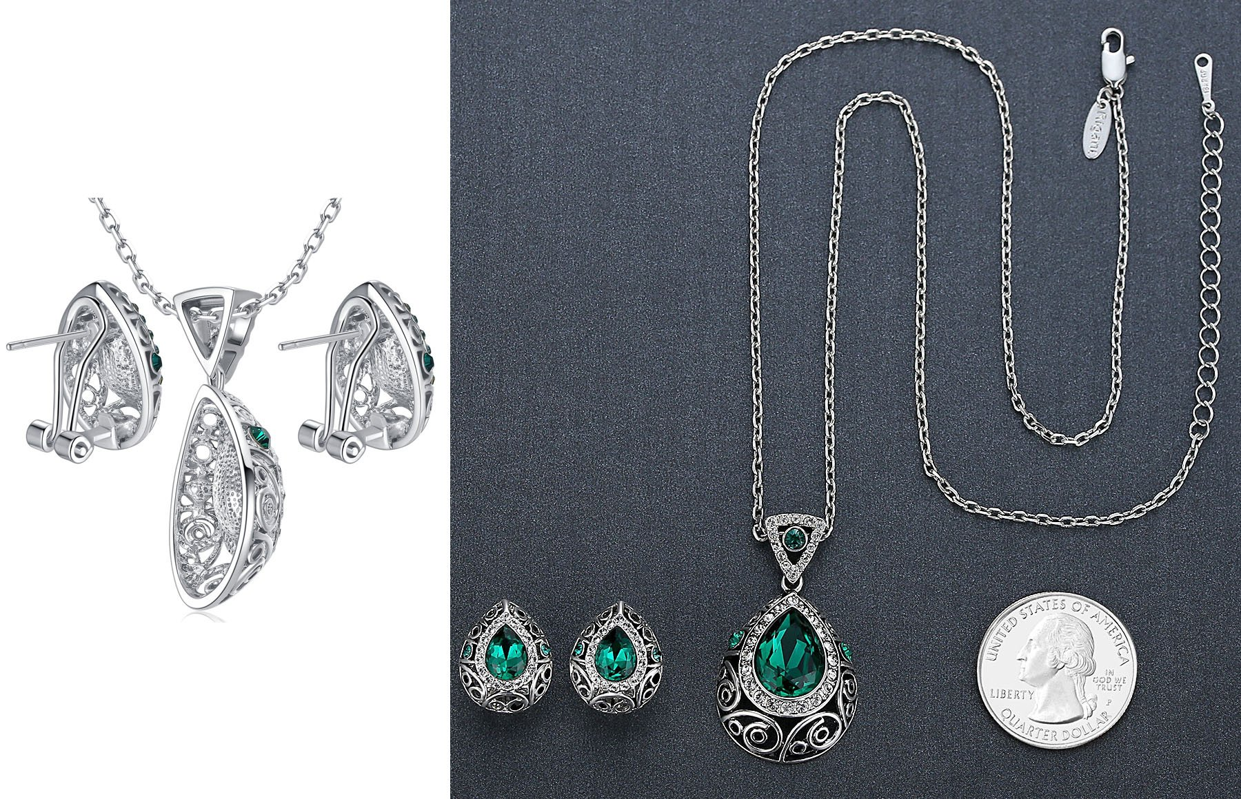 Leafael [Presented by Miss New York] Silver-tone Teardrop Filigree Vintage Style Emerald Green Pendant Necklace Made with Swarovski Crystals Earrings Set, 18'' + 2'', Nickel/Lead/Allergy Box by Leafael (Image #6)