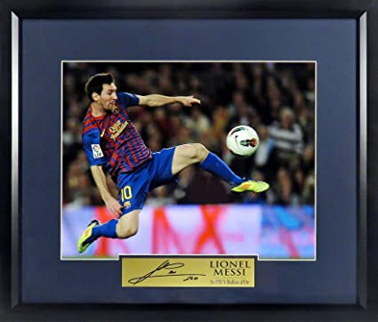 """70ea2668216 Amazon.com  FC Barcelona Lionel Messi """"Volley Kick"""" 11x14 Photograph (SGA  Signature Engraved Plate Series) Framed  Sports Collectibles"""