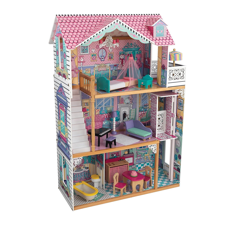 Amazon.es: KidKraft 65079 Casa de muñecas de madera Annabelle para muñecas de 30 cm con 17 accesorios incluidos y 3 niveles de juego: Juguetes y juegos