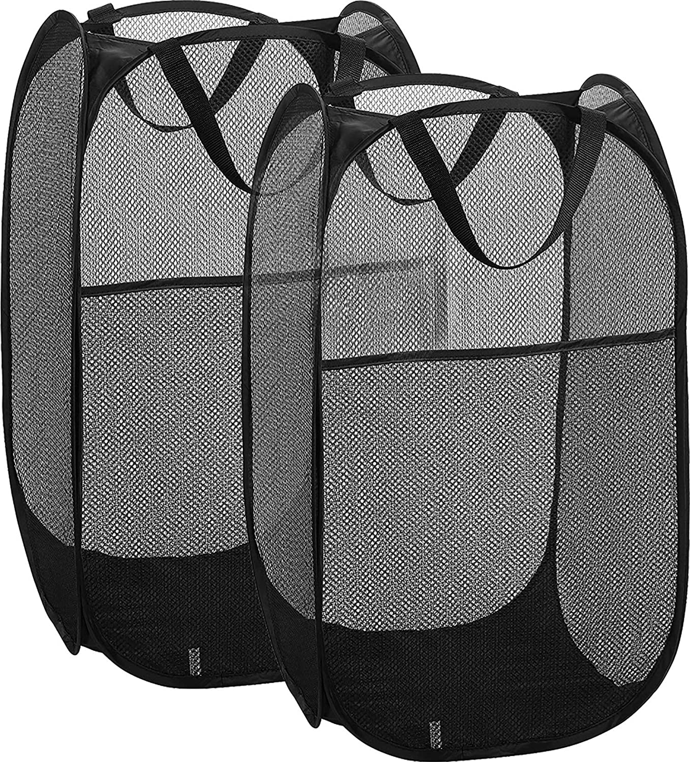 Simplized 2 Pack Popup Laundry Hamper, Foldable Pop-up Mesh Hamper Dirty Clothes Basket w Carry Handles (2)