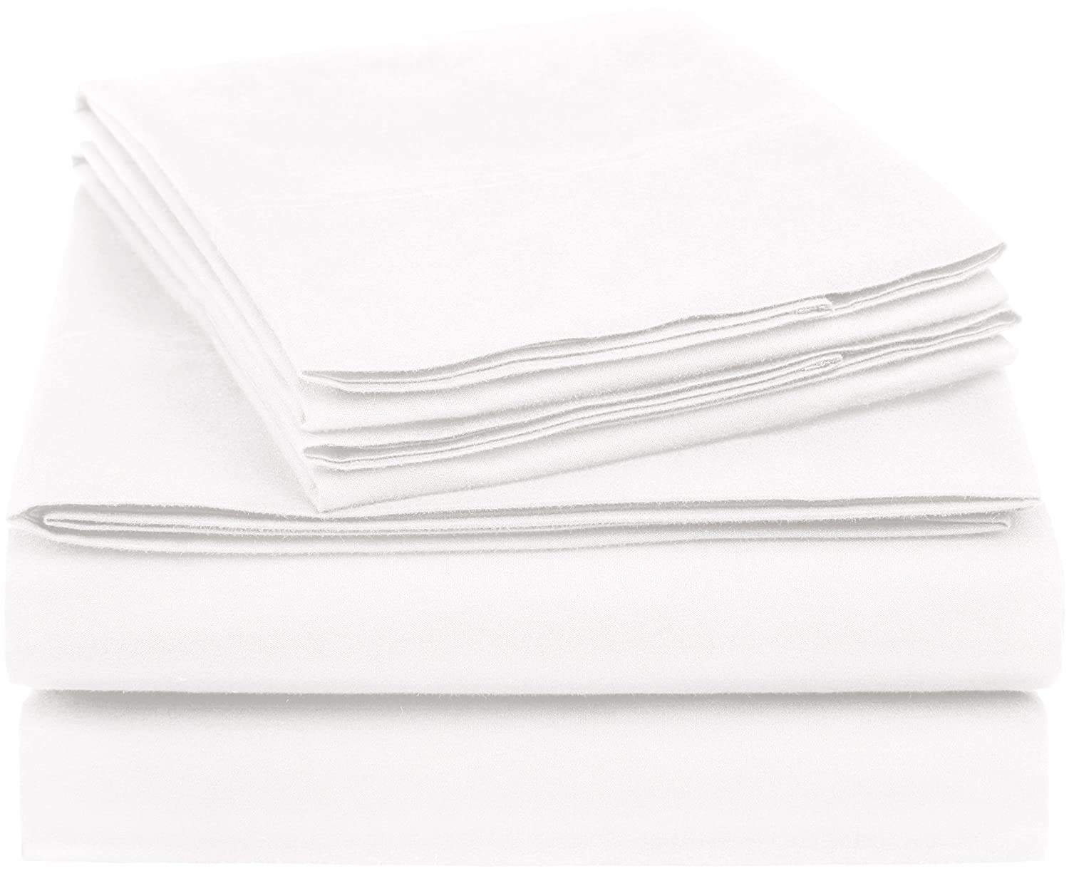 AmazonBasics Essential Cotton Blend Sheet Set -Queen, White