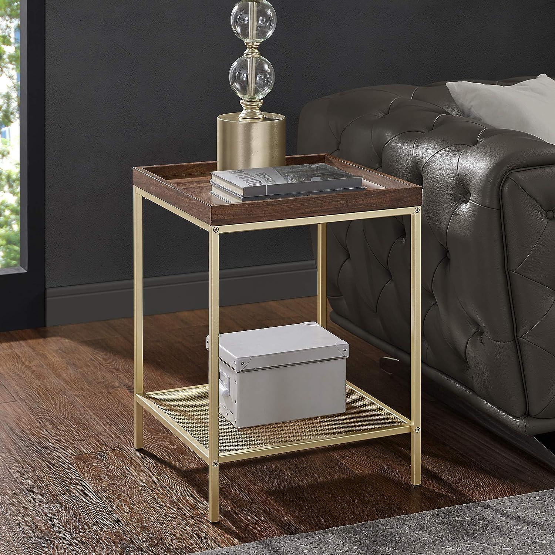 """WE Furniture AZF18EMSTDWG Rustic Square End Side Table Storage for Living Room, Bedroom, 18"""", Dark Walnut/Gold"""