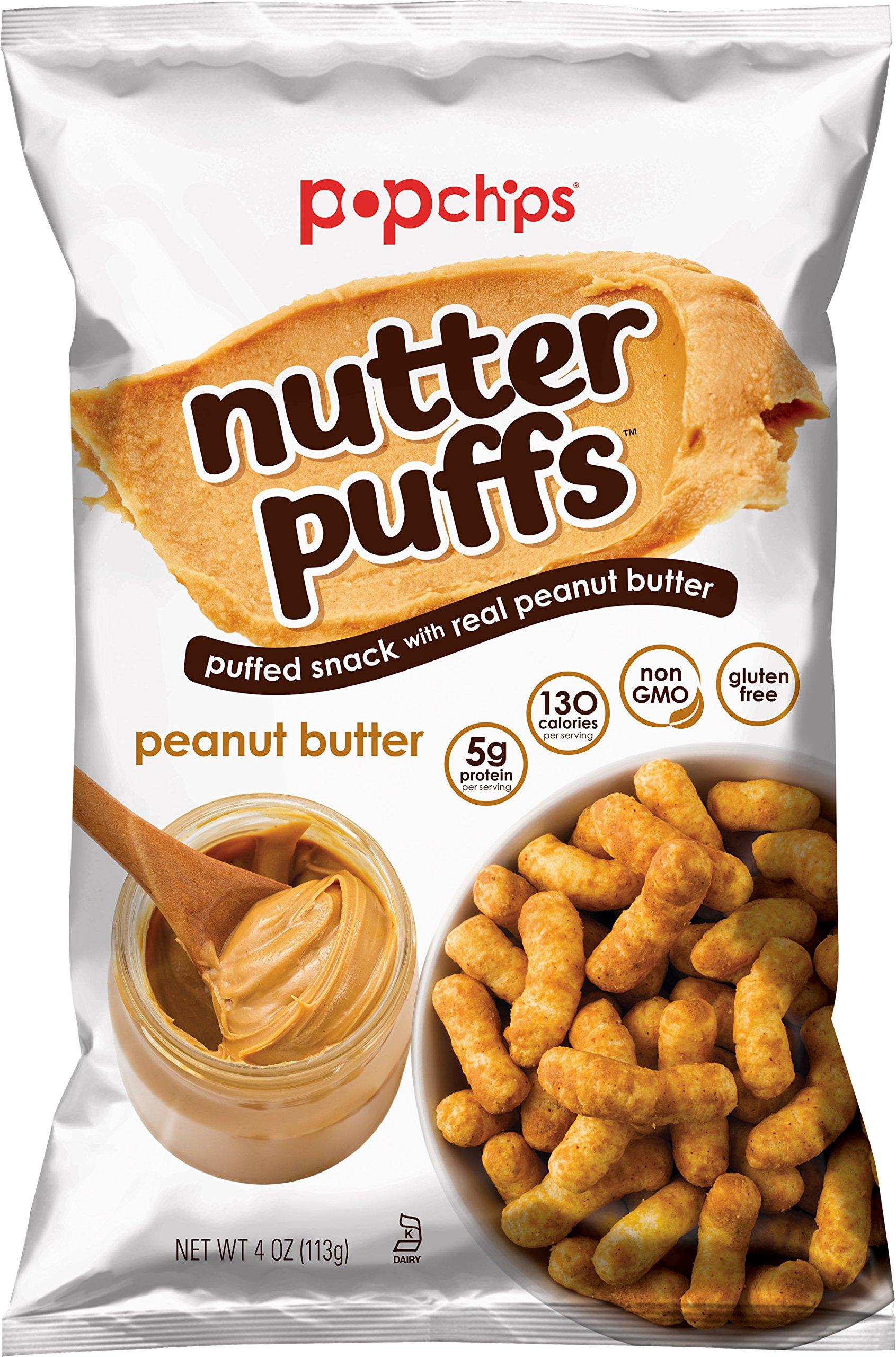 Popchips Nutter Puffs, Peanut Butter, 4 ounce, 12 Count