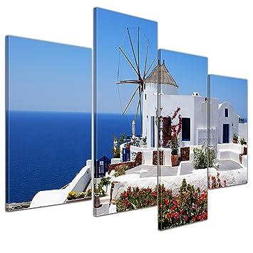 4 er Set Wandbilder Griechenland je 40 cm x 40 cm Leinwand Bilder