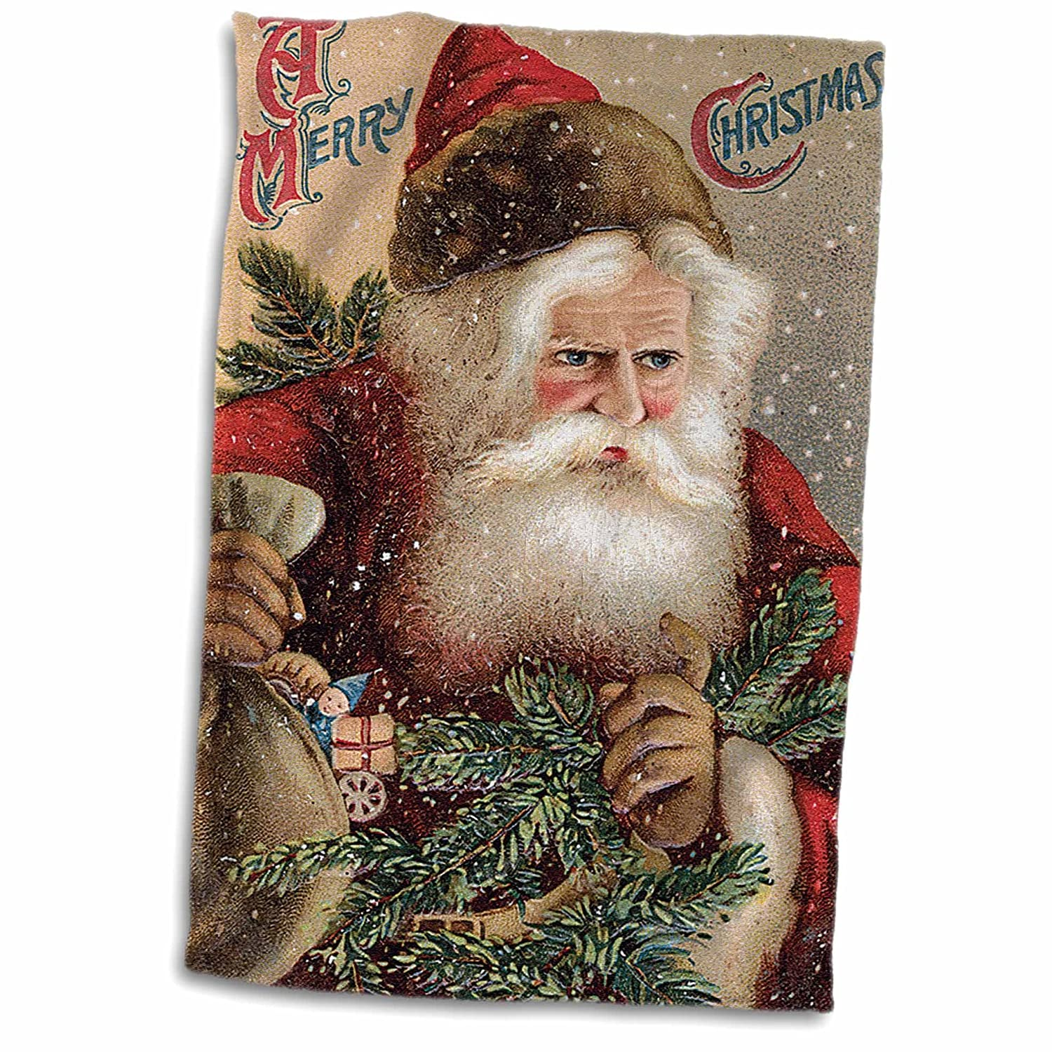 3D Rose Vintage Santa Clause with A Sack of Toys and Tree and Snowing Towel 15 x 22 Multicolor