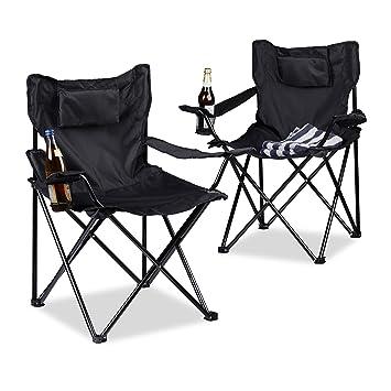 Relaxdays Silla de Camping, Juego de 2, Respaldo Acolchado, Soporte para Bebidas, Plegable, Alto x Ancho x Profundidad:82 x 78 x 50 cm