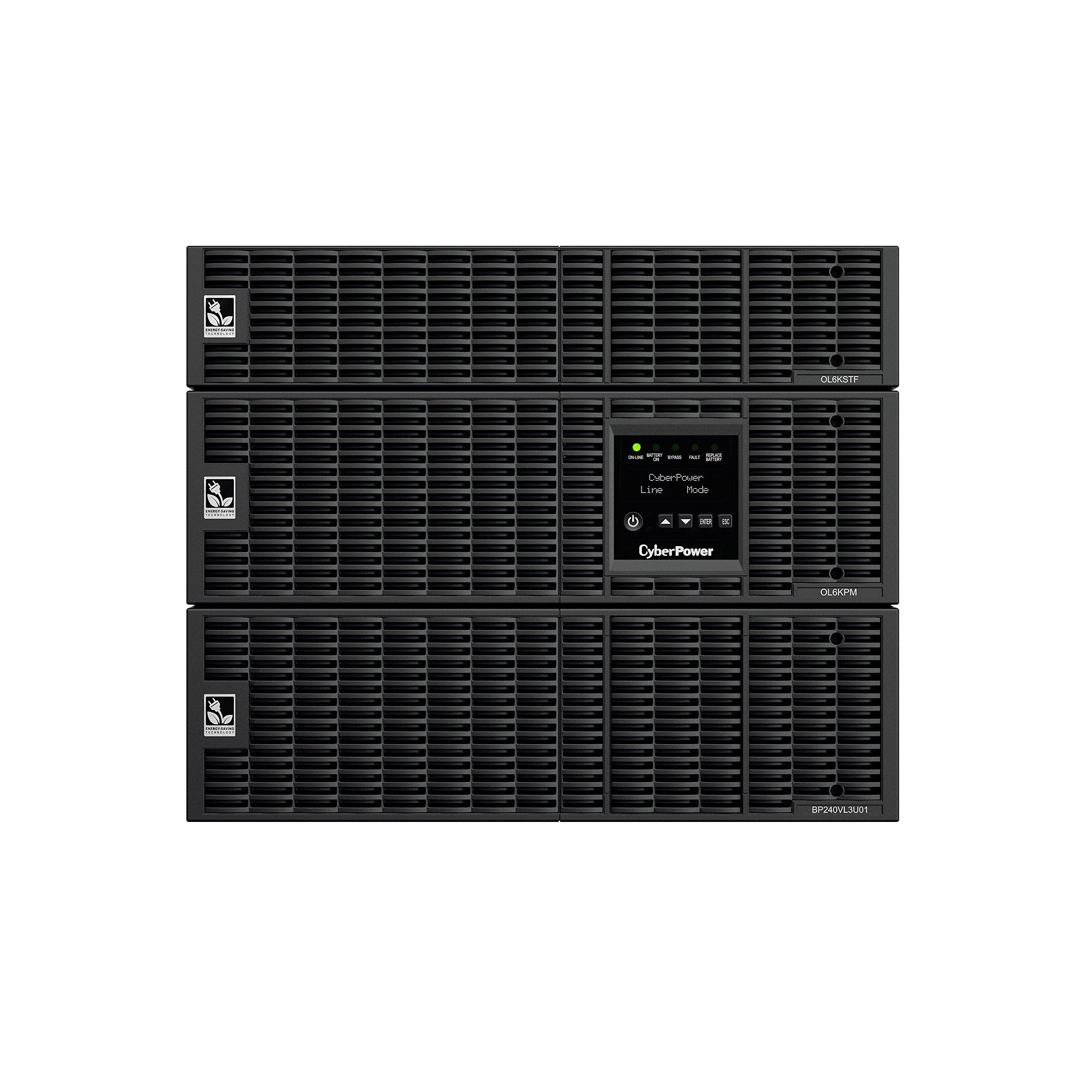 CyberPower OL6KRT Smart App Online UPS System, 6,000 VA/5,400 W, 4 Outlets, 6U Rack/Tower + Pre-Installed SNMP Card