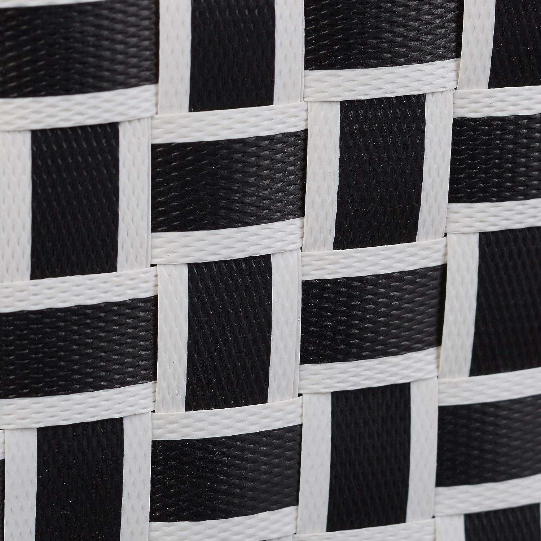 Relaxdays cestas almacenaje, Juego de 4 cajas, Plástico duro, Estables, Óptica tipo mimbre trenzado, Blanco y negro: Amazon.es: Hogar