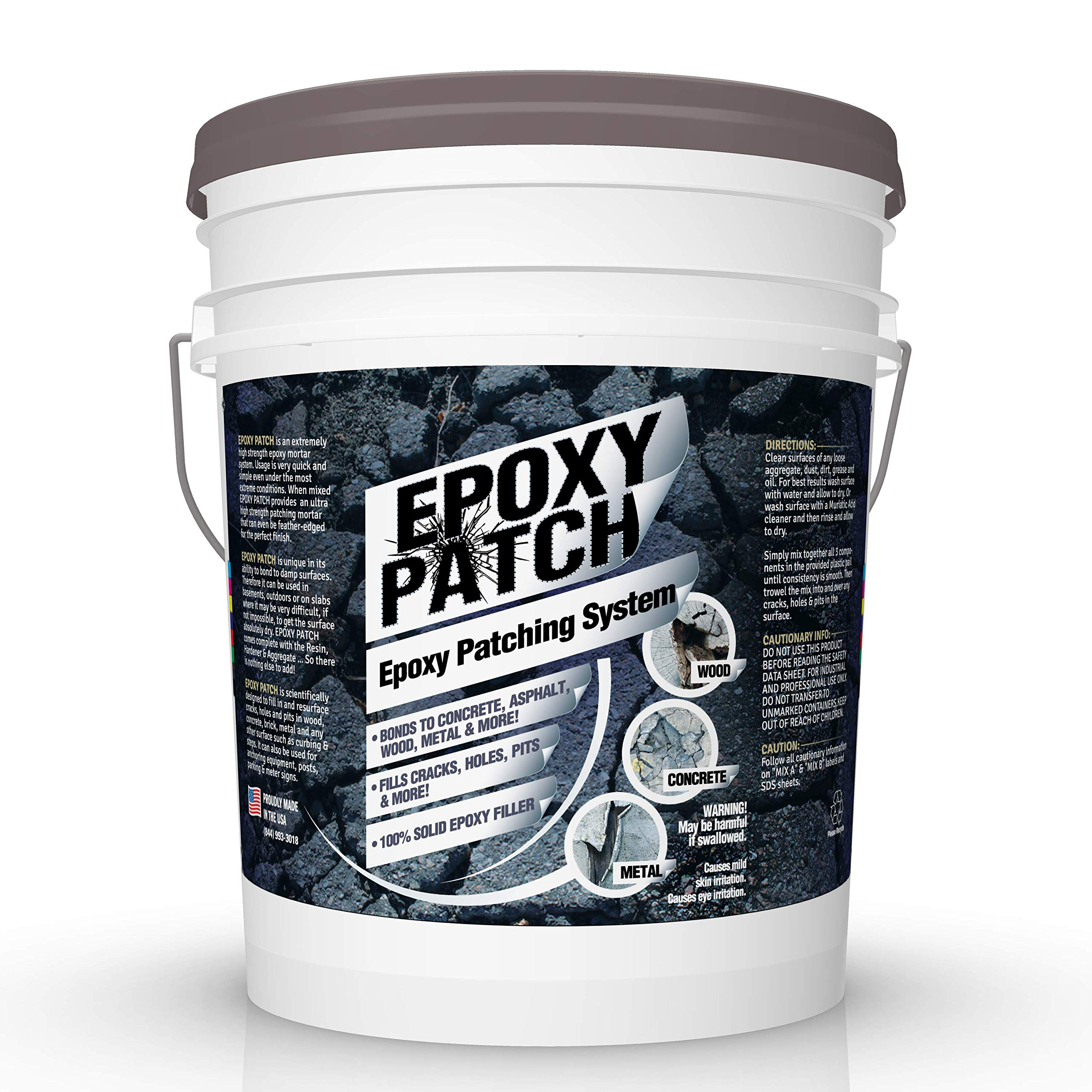 3 Part EPOXY Mortar Patching System - Contains Resin, Hardener & Aggregate. Fills Cracks, Holes, Pits & More! Bonds to Concrete, Asphalt, Wood & Metal. (50 lb Pail) by FDC