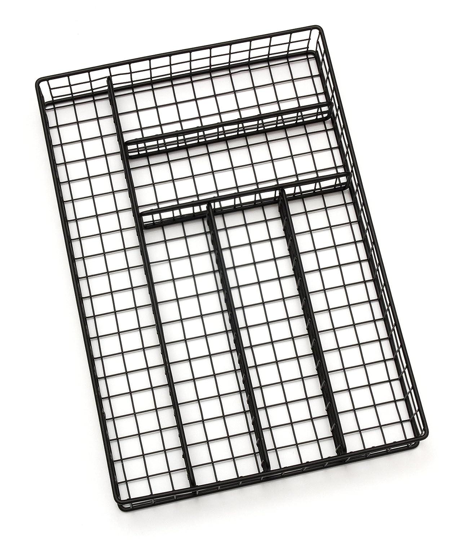 Lipper International 8178 Flatware Organizer, 6 Compartments, Metal Wire, 10-3/4 x 15-3/4 x 2-1/8, Black