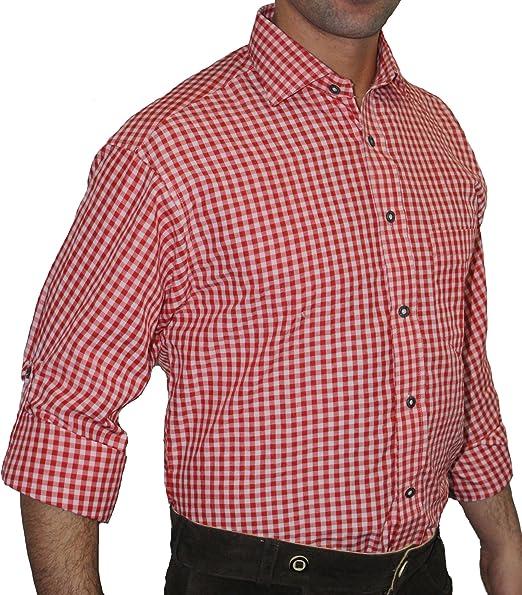Traje Camisa Traje típico de color rojo blanco a cuadros ...