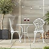 VonHaus Cast Aluminium Bistro Set - Table & 2 Chairs Outdoor Furniture for Deck, Patio, Garden - White