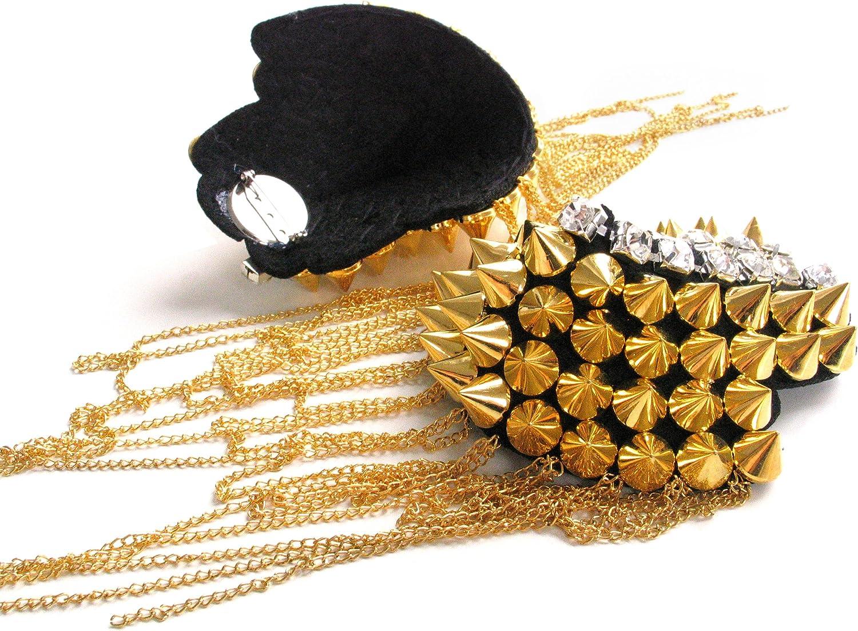 Rocknnail Coppia Punk Rivetti Spalline Distintivo Oro
