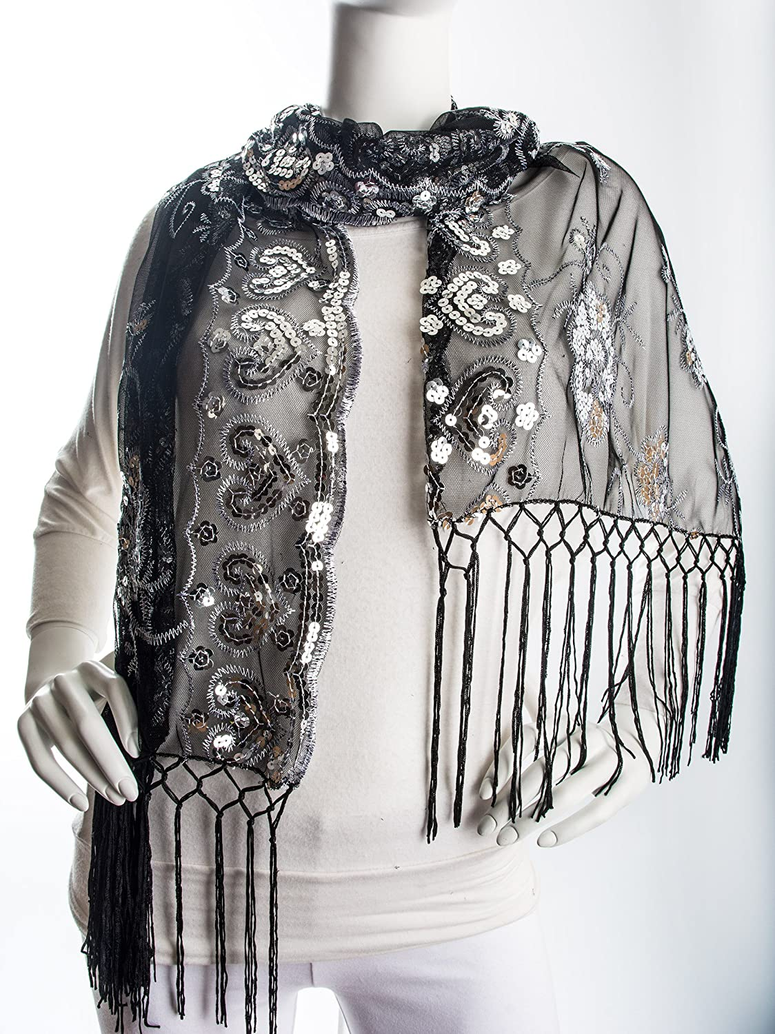 1920s Style Shawls, Wraps, Scarves Bohomonde Madison Shawl Long Fringe Sequin Evening Wrap $14.95 AT vintagedancer.com