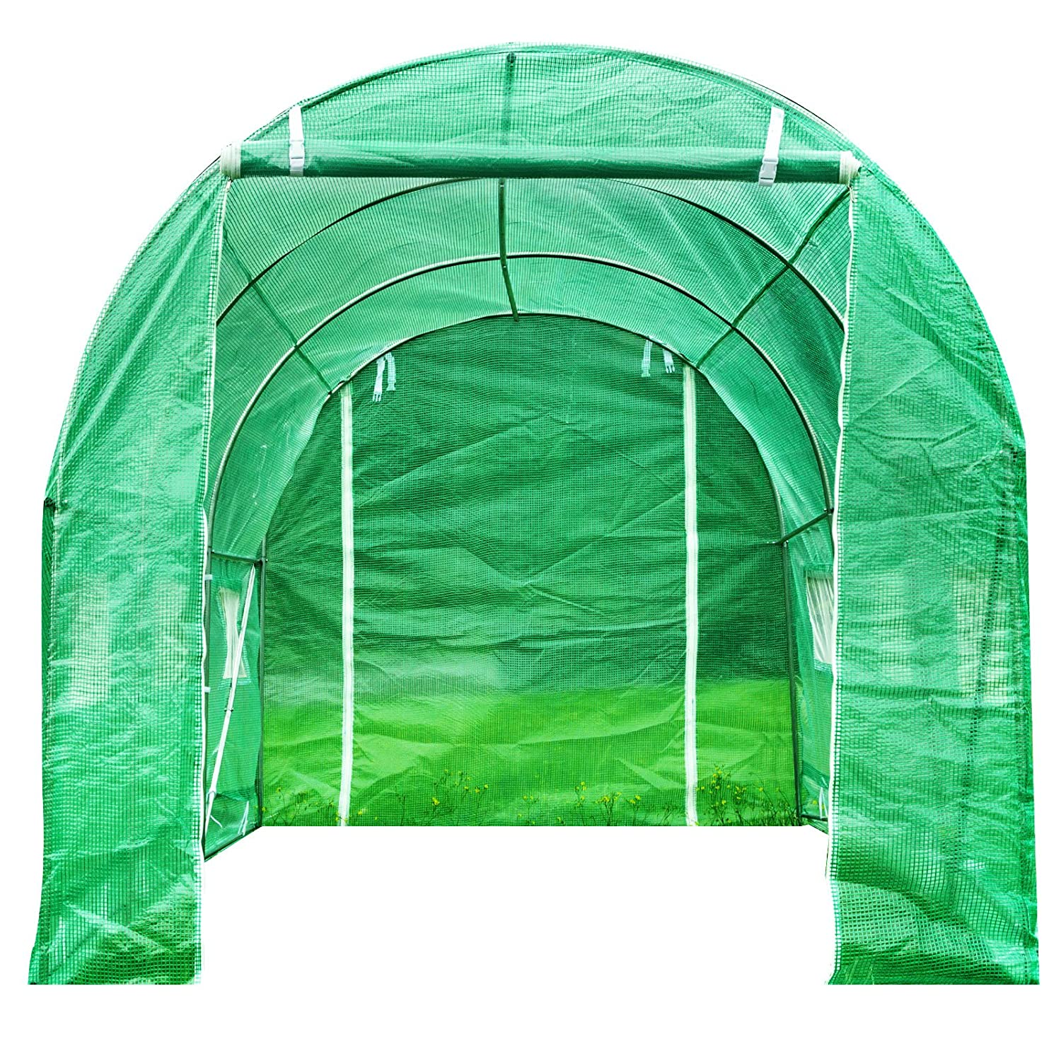 4M X 2M Superworth 4M X 2M Fully Galvanised Steel Frame Greenhouse Cultivation Run Polly Tunnel 8 m² Area 2M Height 6 Windows 2 Doors 3 Sections