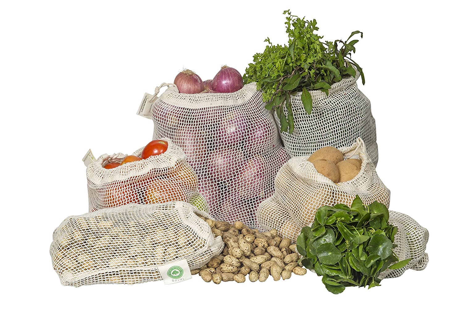 Reusable Mesh Produce Bags | Organic GOTS Certified Cotton | Environment Friendly Fruit, Vegetable, Grocery, Bulk Food Storage | Washable Drawstring Bag | 2 Each of Small, Medium, Large & X Large