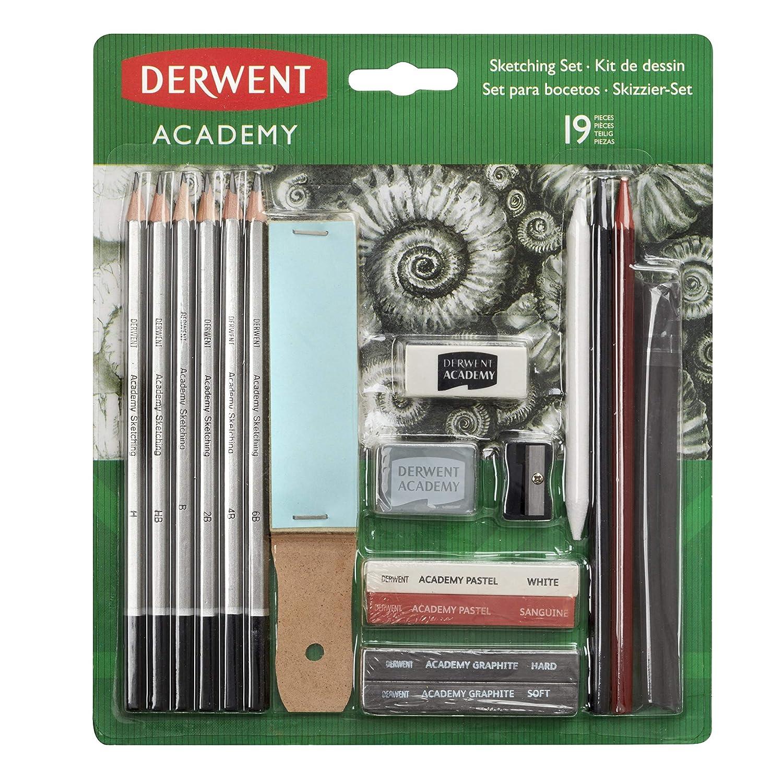 Derwent Academy color blanco y sanguina con barras de grafito y barras pastel incluidos Set para bocetos y esbozos