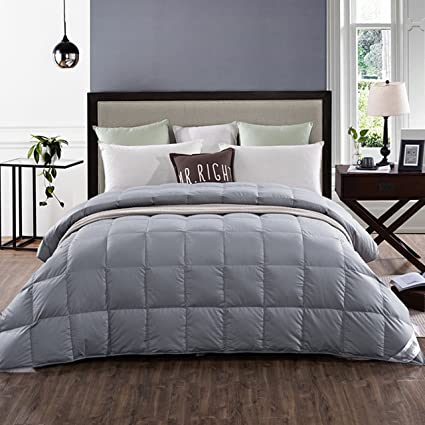 Amazon Com Lightweight 100 White Goose Down Comforter Blanket For Summer Spring Size California Kingsolid Grey Home Kitchen