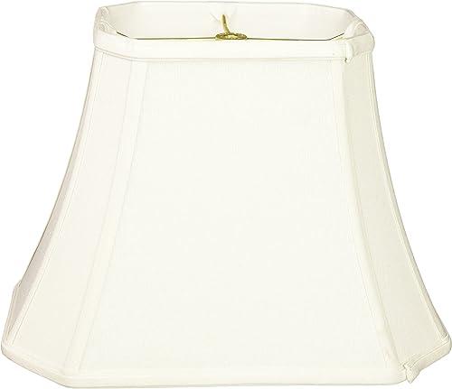 Royal Designs Rectangle Cut Corner Linen White Lamp Shade, 6 x 8 x 9 x 14 x 10.5