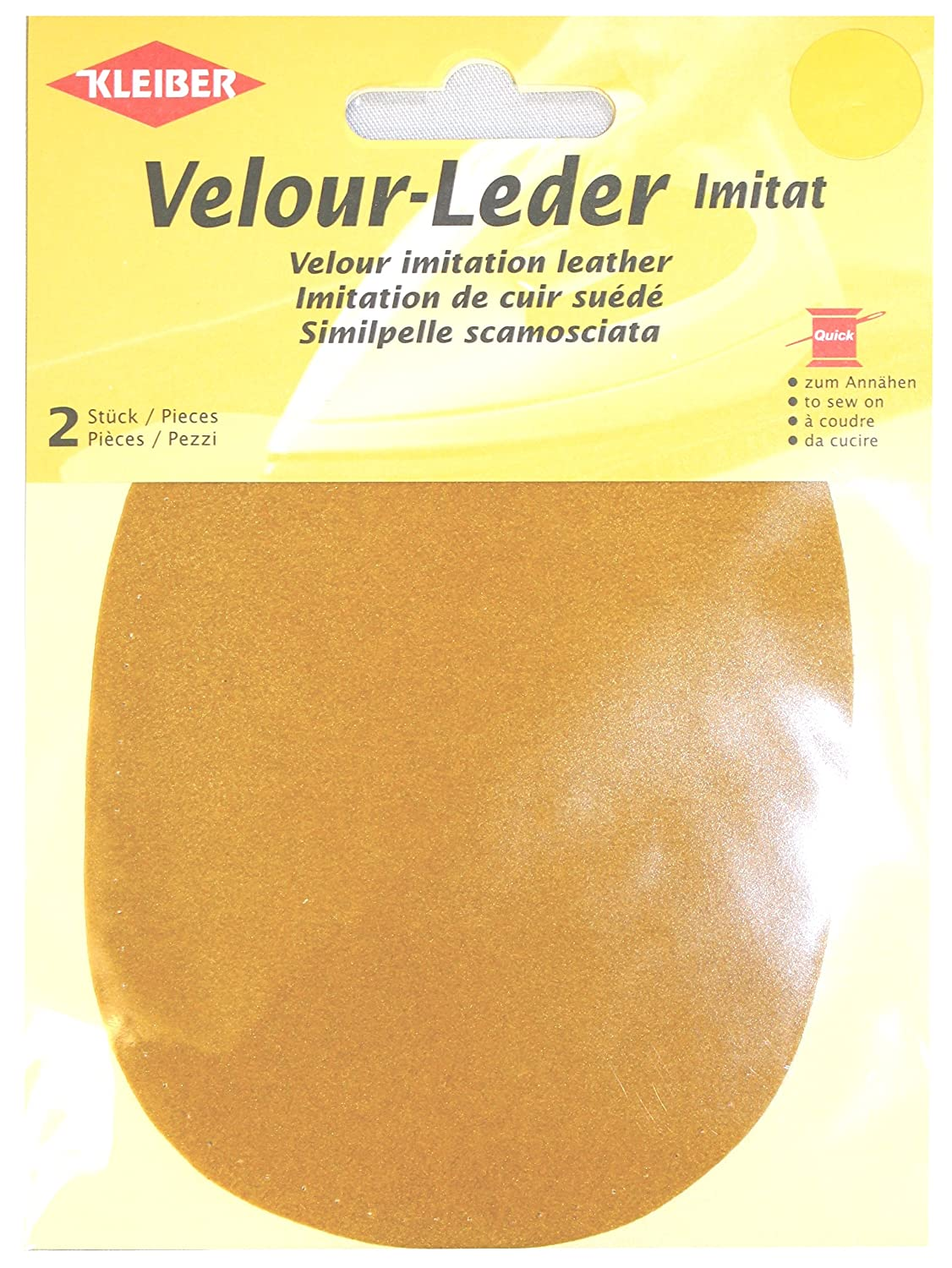 Kleiber 12.5 x 10 cm Imitation Suede Leather Sew on Knee/Elbow Patches Oval, Citrus Yellow 896-41