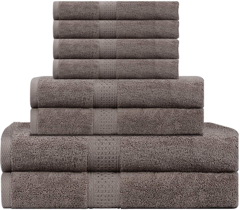 LiveComfort 8 Piece Towel Set – 2 Bath Towels, 2 Hand Towels and 4 Washcloths, 100% Cotton Super Soft and Absorbent, Machine Washable (White) J&D Tech