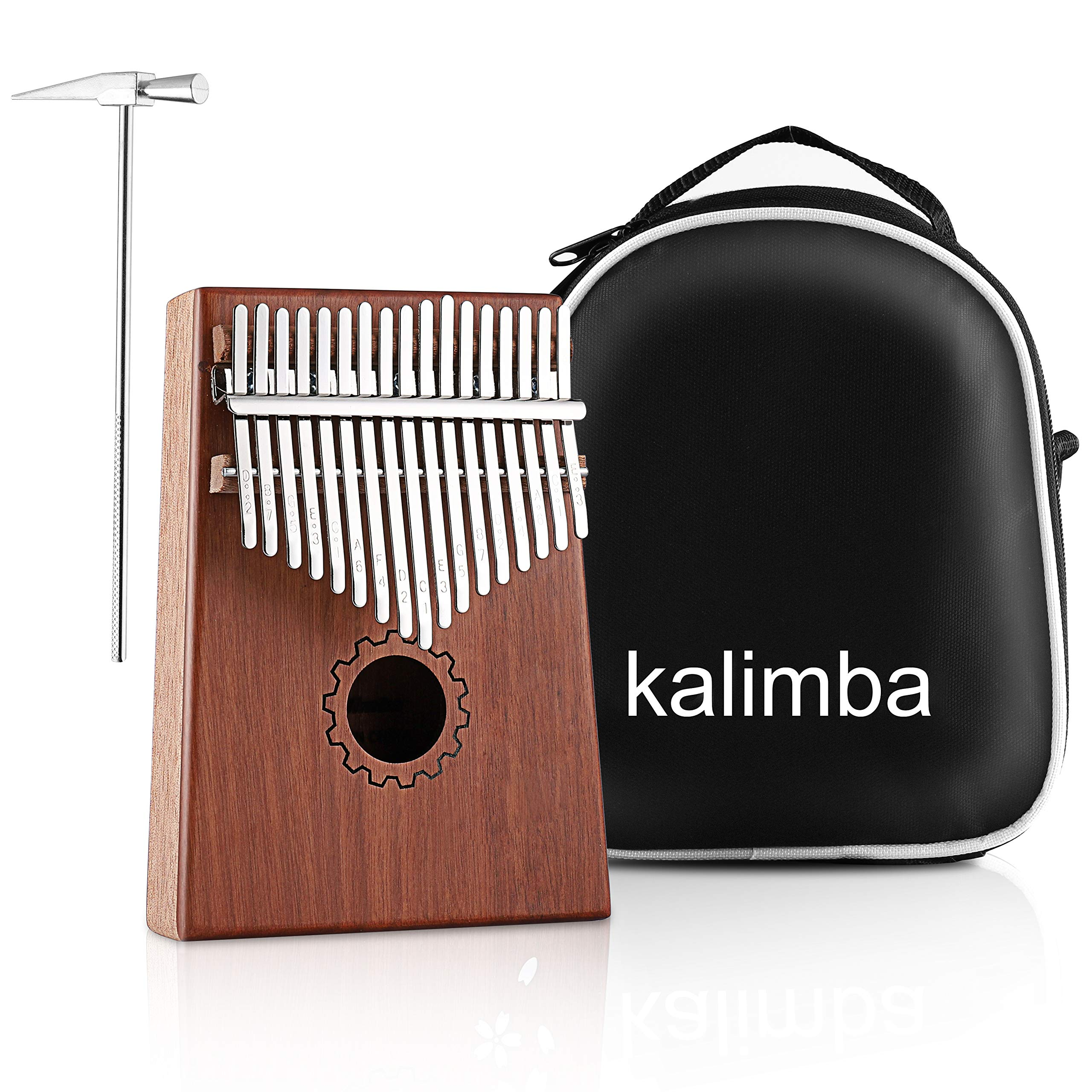 MINGPINHUIUS Kalimba 17 Key Thumb Piano, Mbira Thumb Drive with Bag and Instruction Songbook Portable Musical Instrument for Kids, Friends,Beginners,Music Lovers (Gear)