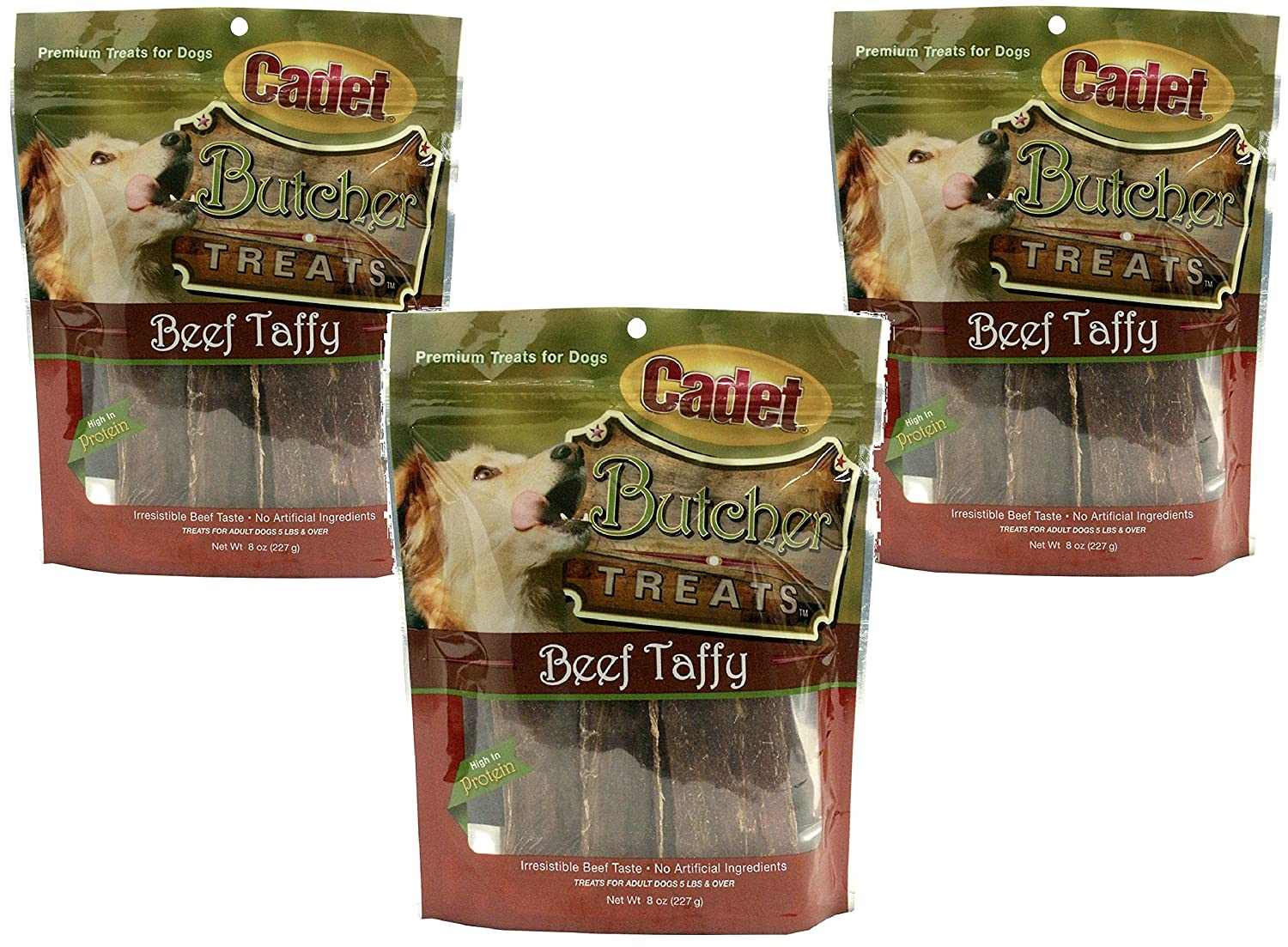 Cadet 3 Pack of Butcher Treats, 8 Ounces each, 100 Percent Beef Dog Snacks