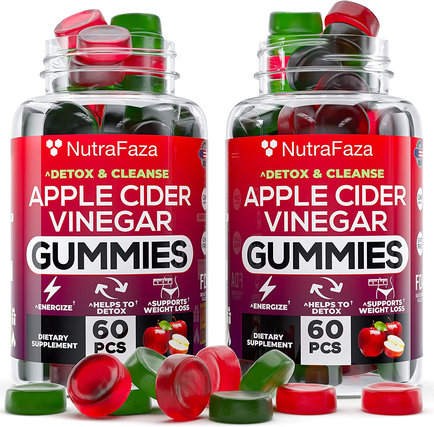 (2 Pack) Apple Cider Vinegar Gummies with Mother for Immun? Support - Vegan - Detox, Cleanse Support - Bloating Relief - Gummy Alternative to Apple Cider Vinegar Capsules, P?lls, Made in USA