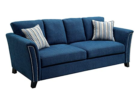 Incredible Furniture Of America Heyer Contemporary Sofa With Pillows Dark Teal Creativecarmelina Interior Chair Design Creativecarmelinacom